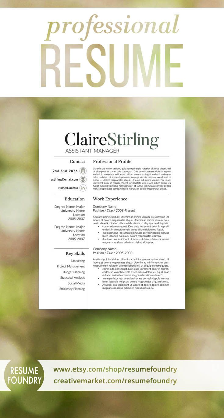 Resume Templates In Word 2018 Modern Resume Template For Word 13 Page Resume  Cover Letter  .