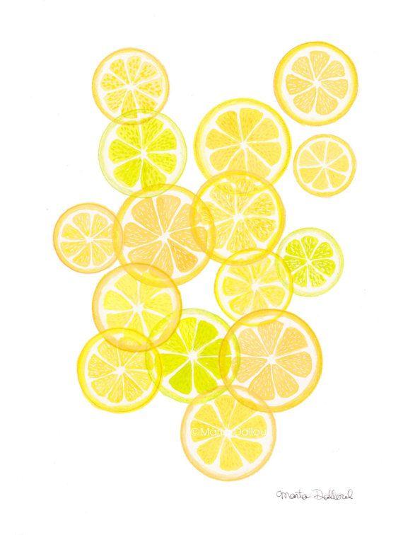 Lemons art print, lemon fruit modern art watercolor painting, modern ...