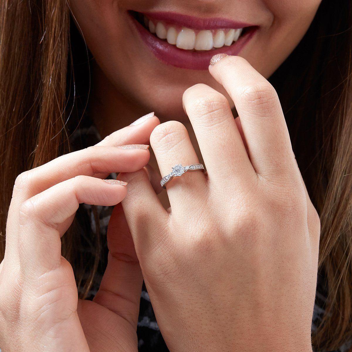 10k 14k White Gold 925 Silver 1 3 Carat G H Color Brilliant Round Lab Diamond Engagement Ring Lab Diamond Engagement Ring Grown Diamond Engagement Ring Sizes