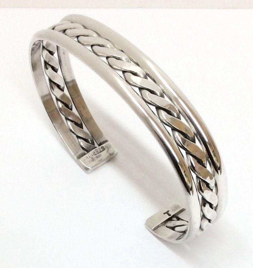 Sterling Silver Native American Navajo Indian braid Twist Cuff Bracelet C032202