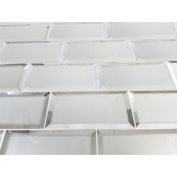 Reflections 3 Quot X 6 Quot Matte Glass Mirror Beveled Subway Tile