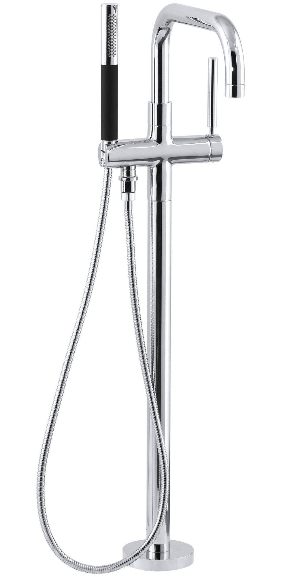 Floor Mount Tub Filler with Hand Shower