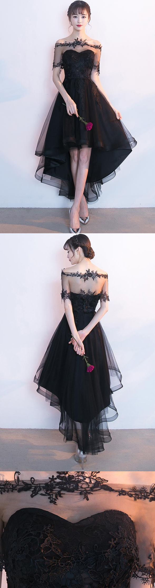 New arrival pieces black front short long back homecoming dresses
