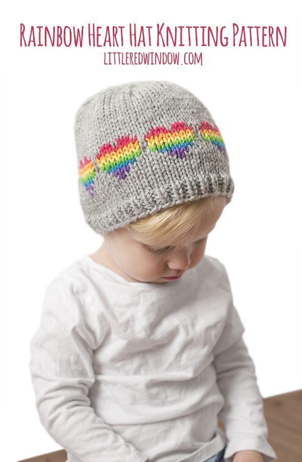 Fair Isle Rainbow Hearts Hat Knitting Pattern | Pinterest | Gorro ...