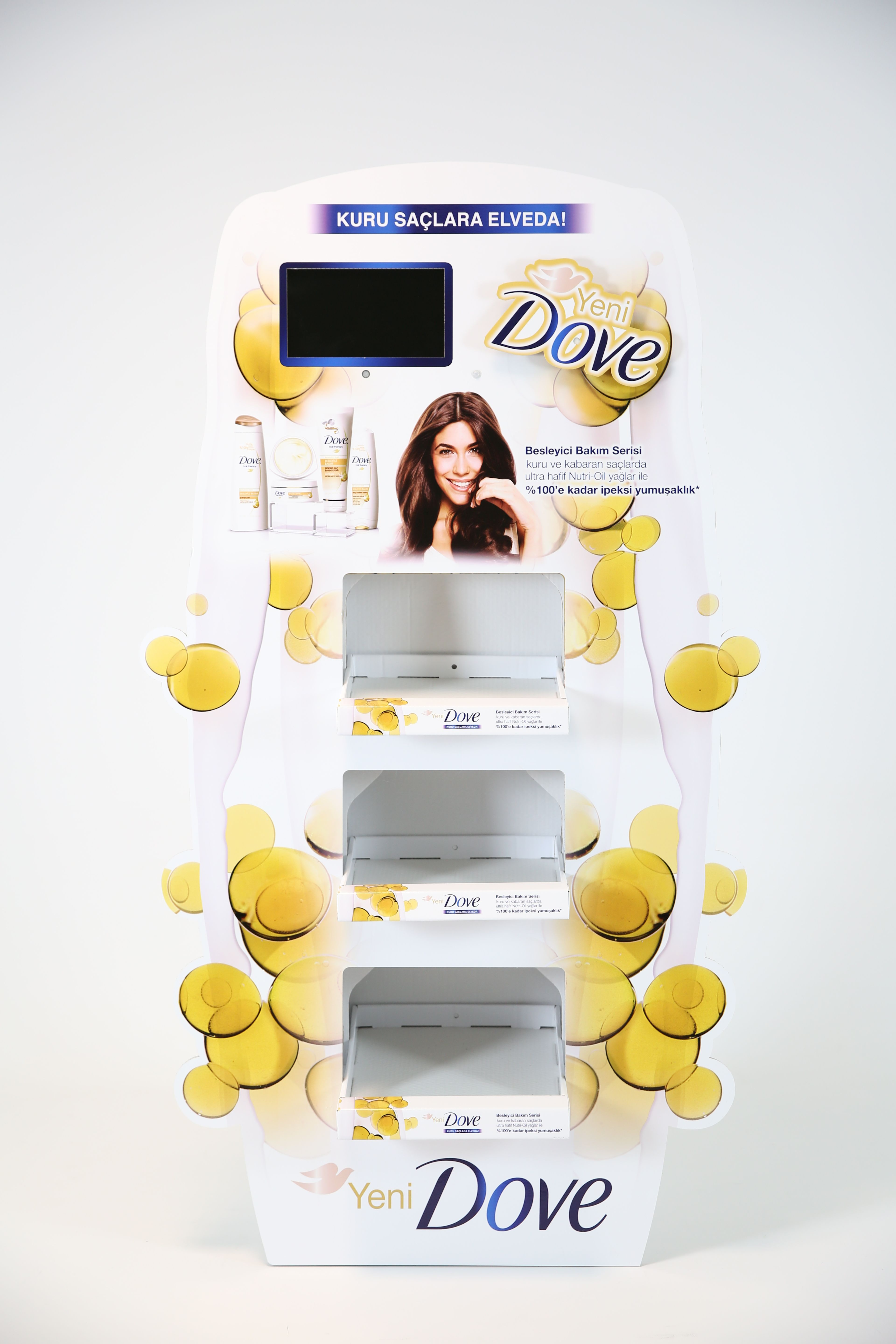 unilever dove cardboard display with screen battery power