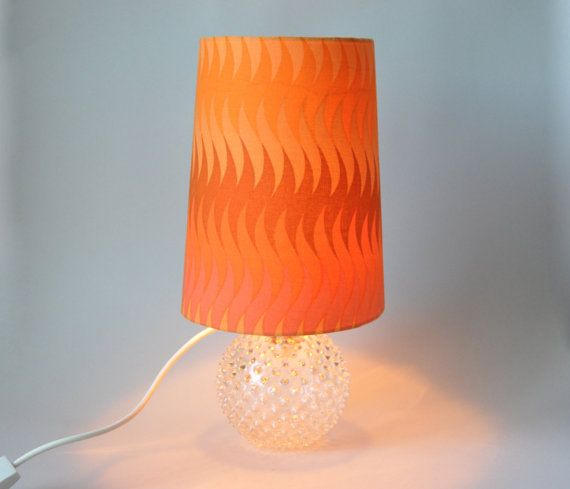 RESERVED FOR DAVE Vintage Orange Desk Lamp Panton Style In Bright Orange  Tangerine With A Glass Hedgehog Lamp Stand Mid Century Modern