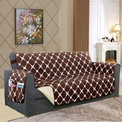 Astonishing Bloomingdale Loveseat Protector In Chocolate Cream Ibusinesslaw Wood Chair Design Ideas Ibusinesslaworg