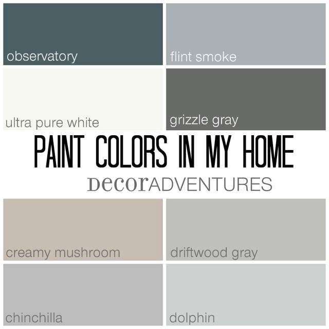 Paint Colors In My Home Free Printable