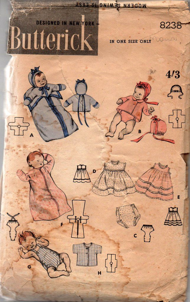 Vintage 50s Baby Layette pattern Butterick 8238 Heirloom sewing ...