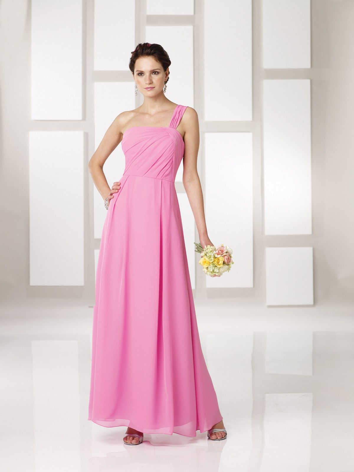Chiffon one shoulder asymmetrically gathered bodice ankle length ankle length bridesmaids dresses ombrellifo Gallery