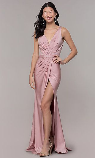 1a4177cb57d5 Long Vintage-Inspired V-Neck Prom Dress by PromGirl