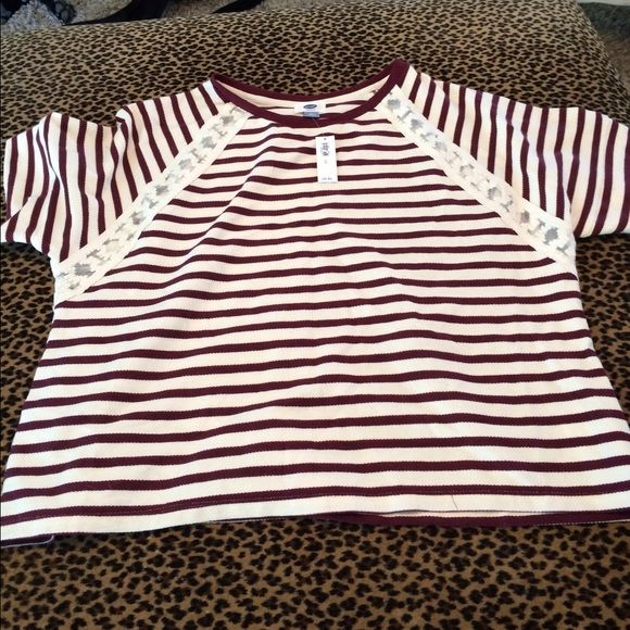 """Boxy Old Navy Shirt Heavier 100% cotton with sheer striping on front and back. 24"""" flat across bust, 24"""" length. Brand new with tags. Color is burgundy and cream. Old Navy Tops Tees - Short Sleeve"""
