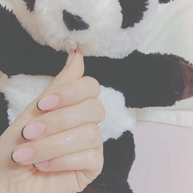 ネイル部 ネイル 細フレンチ フレンチネイル ジェル ジェルネイル 簡単 シンプル 初心者ネイル ショート シンプルが好き  上野動物園 お土産 パンダ