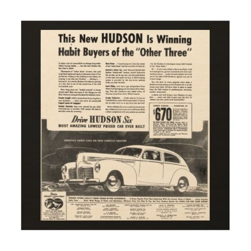 "The New 1940 Hudson Automobile Wood Print $80.95- Size: 12""x12"" Wood Canvas -Print your favorite photo memories and art on a unique WoodSnap print! Each print is produced with eco-friendly ink on high quality birch plywood. The beautiful wood grains shine through with the omission of white ink during the printing process creating a statement piece perfect for any space."