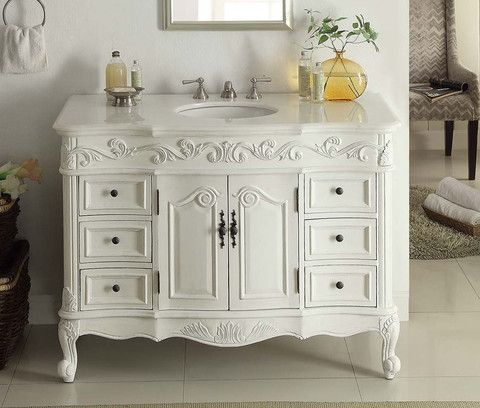 Benton Collection Antique White Beckham Bathroom Sink Vanity - 42 inch bathroom vanity with top for bathroom decor ideas