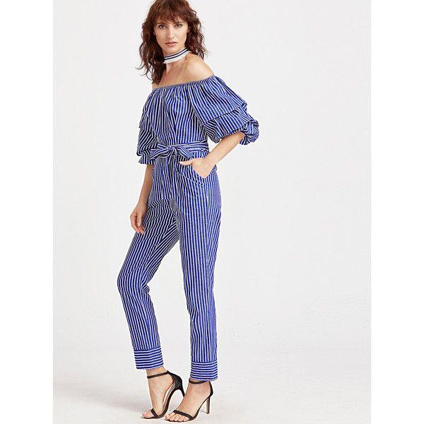 19a37cc510ba SheIn(sheinside) Blue And White Striped Billow Sleeve Jumpsuit (45 BAM) ❤