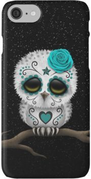 Cute Teal Blue Day of the Dead Sugar Skull Owl iPhone 7 Cases