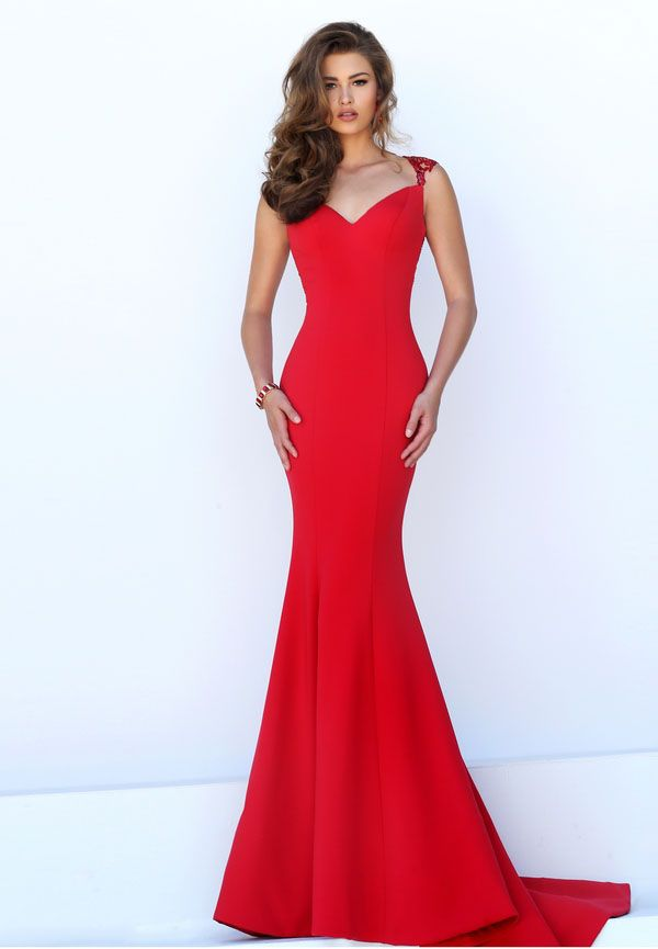 mermaid sheer lace back sleeveless long red prom dress