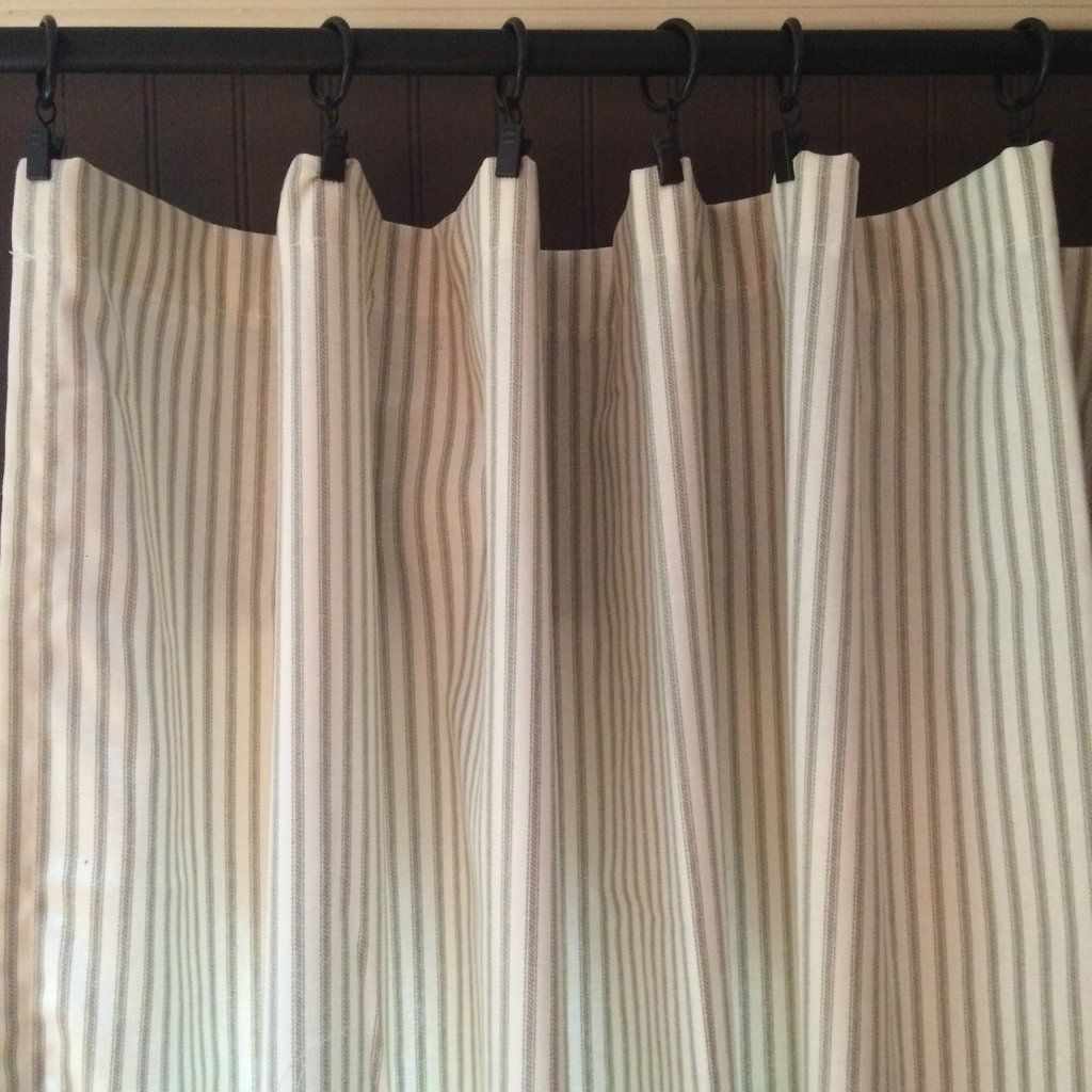 Gray Ticking Stripe Curtain Panel Ticking Stripe Curtains Striped Curtains Ticking Stripe
