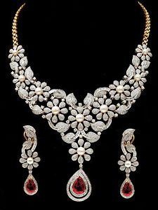Fine Party Bridal Wear Necklace Earrings Set With Ruby Pearl Real Diamond