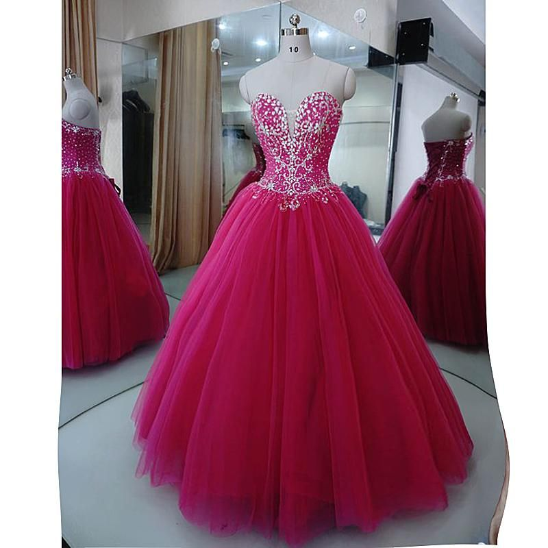 ec5c3d29b51 Gorgeous Fuchsia Crystal Prom Dresses ball Gown Sweet 16 Dress Quinceanera  Gown Siaoryne LP1031