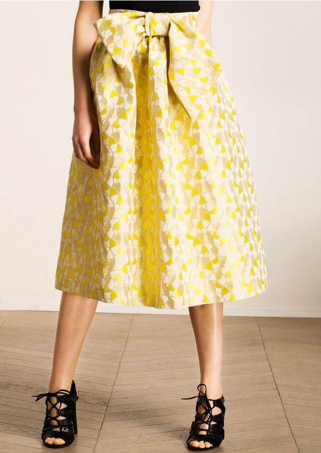 c2b500ebaee68c Jupe midi en jacquard fantaisie jaune - Femme - Tara Jarmon 1   Robe ...