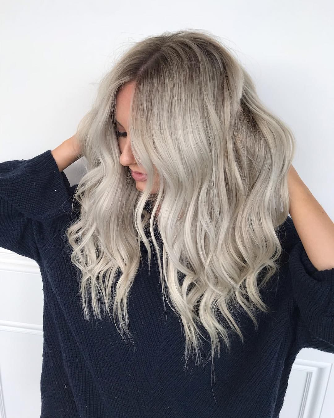Platinum Blonde Wig / Ombre Ash Blonde Wig / Lace Front Wig / Balayage Human Hair Wig