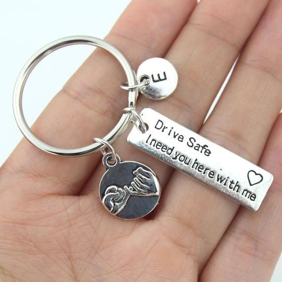 Drive safe keychain,drive safe keyring,drive safe key chain,pinky promise keychain,new driver keyring,new driver gift