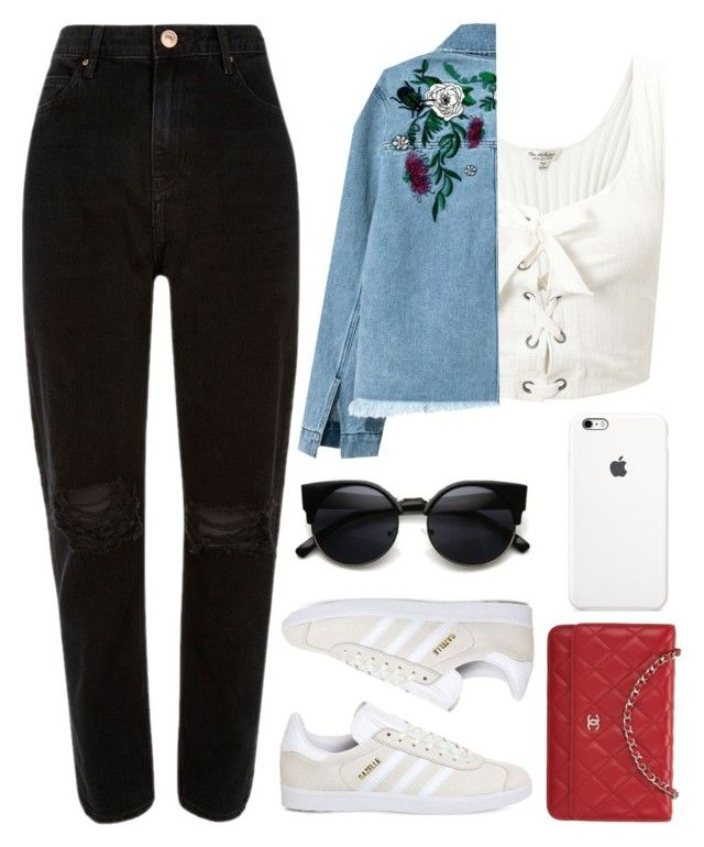 """I love Floral Jackets"" by direction-of-the-summer ❤ liked on Polyvore featuring Miss Selfridge, H&M, River Island, adidas, Chanel and floral"