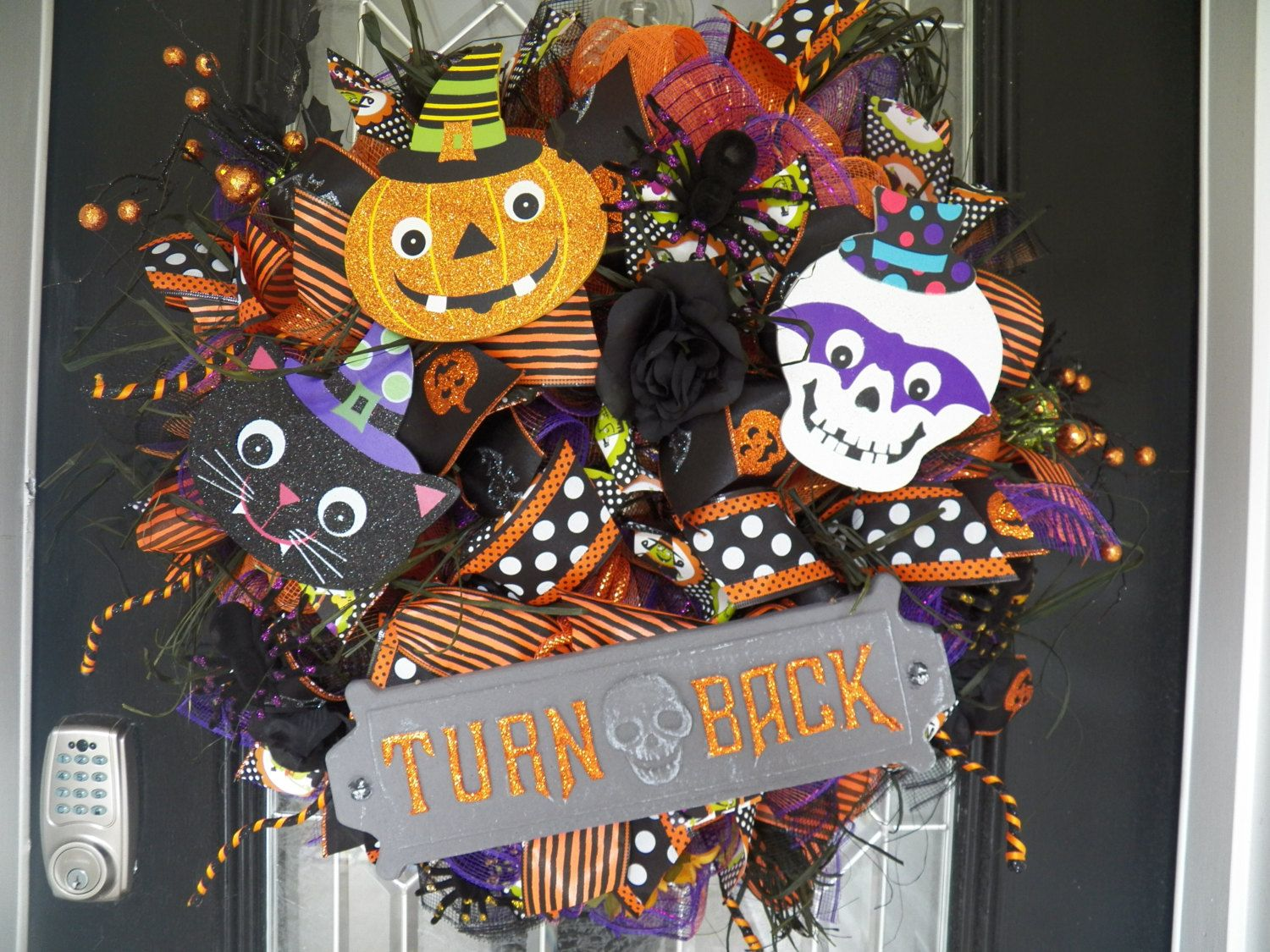 XL Halloween Wreath, Halloween Decoration, Fall Wreath, Front door - Front Door Halloween Decorations