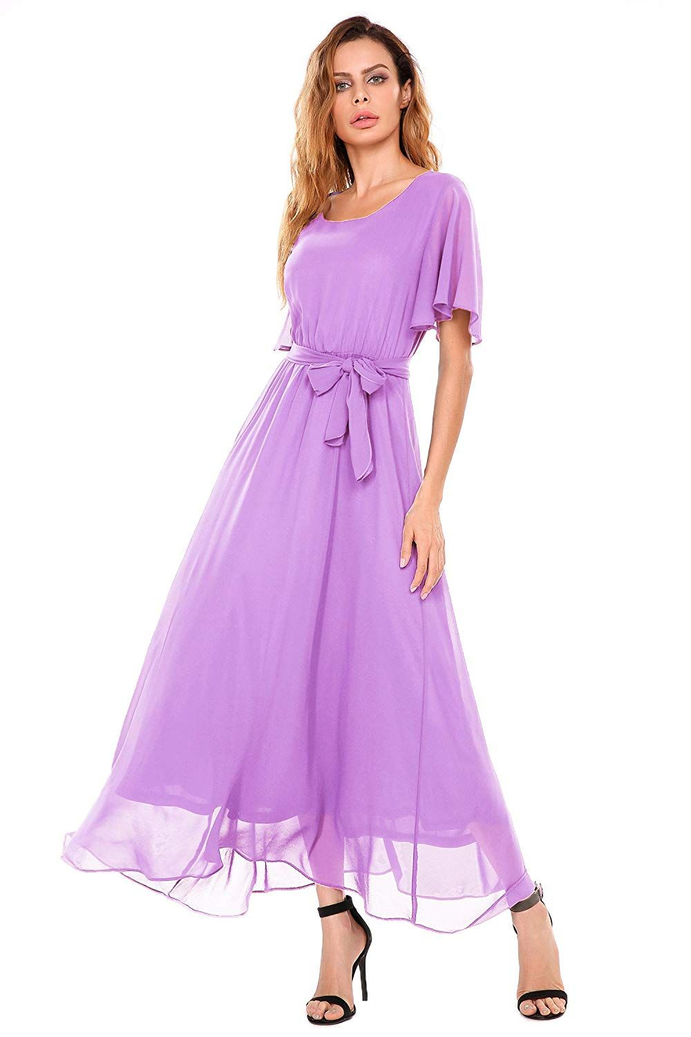 5676bdf476fde ... Bridesmaids Dresses Lavender with Sleeves Formal Prom Party Teen Long  Maxi ACEVOG Women Casual Short Flutter Sleeve O Neck Flare Flowy Chiffon  Long ...