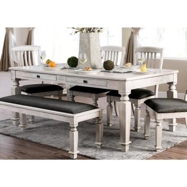 William S Home Furnishing Georgia Antique White And Gray Transitional Style Dining Table Cm3089t Farmhouse Dining Table Farmhouse Dining Table Set Dining Table