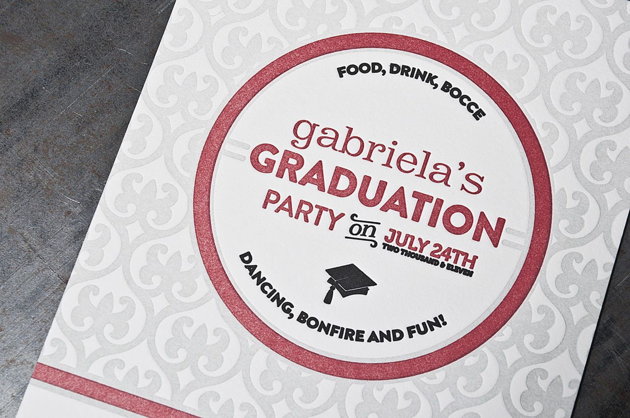 Letterpress Graduation Party Invitation designed and printed at Pike ...