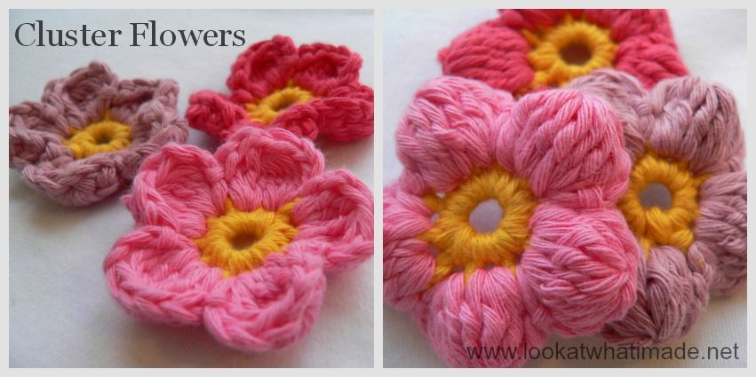 Cluster Flowers (Crochet Flowers) Instructions are found in a link ...