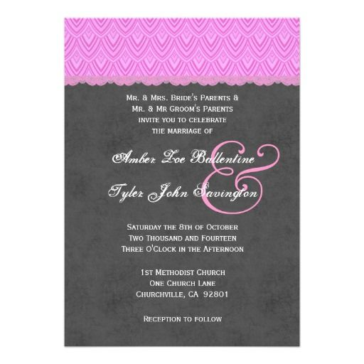 Pink and Gray Chevrons and Polka Dots Wedding V011 Announcement