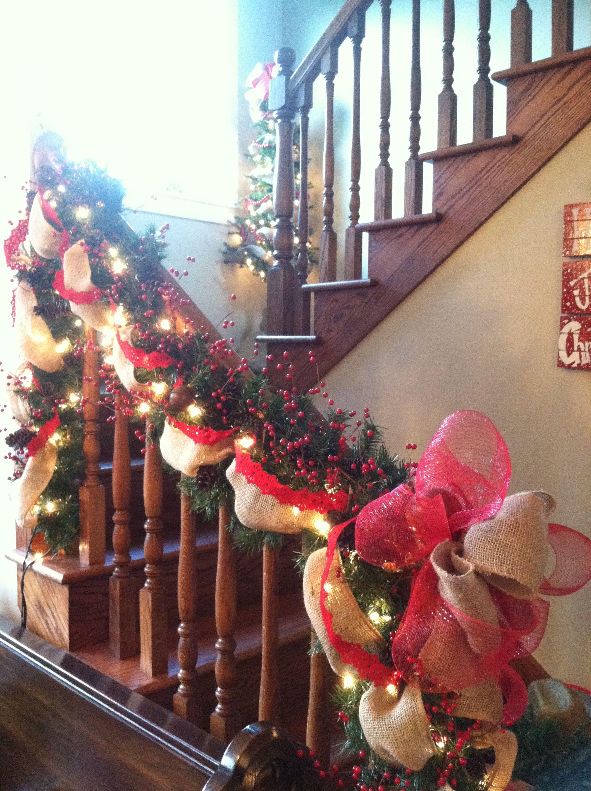 Christmas stairs burlap Christmas stairs burlap