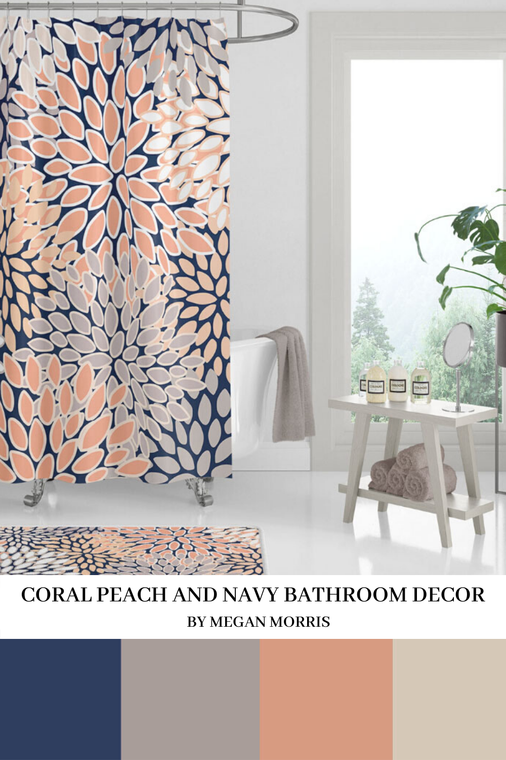 Home Decor Bathroom Colors Coral Peach And Navy Shower Curtain Color Inspiration In 2020 Blue Bathroom Decor Coral Bathroom Decor Bathroom Decor Colors