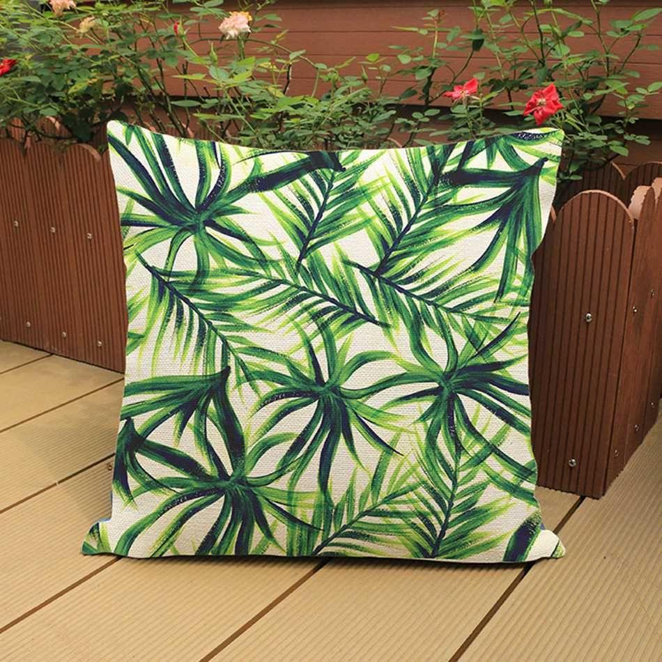 Hot sale africa tropical plant printed cushion green leaves beige