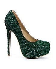 2f04caaab0ea dark green glittery heels. | Emerald