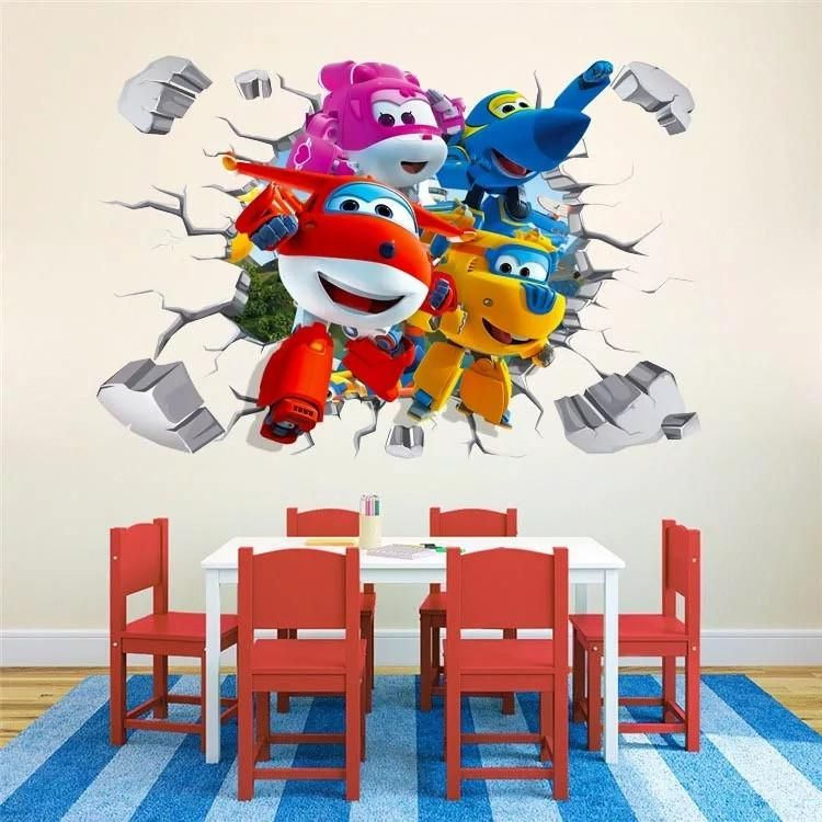 3D cartoon Super Wing Deformation Airplane Robot Wall Stickers Kids Nursery RooM
