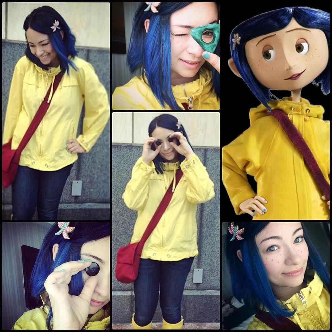 1 203 Likes 39 Comments Jodelle Ferland Cosplay Jodellecosplays On Instagram Coraline At Sdcc Coraline Costume Jodelle Ferland Diy Halloween Costumes