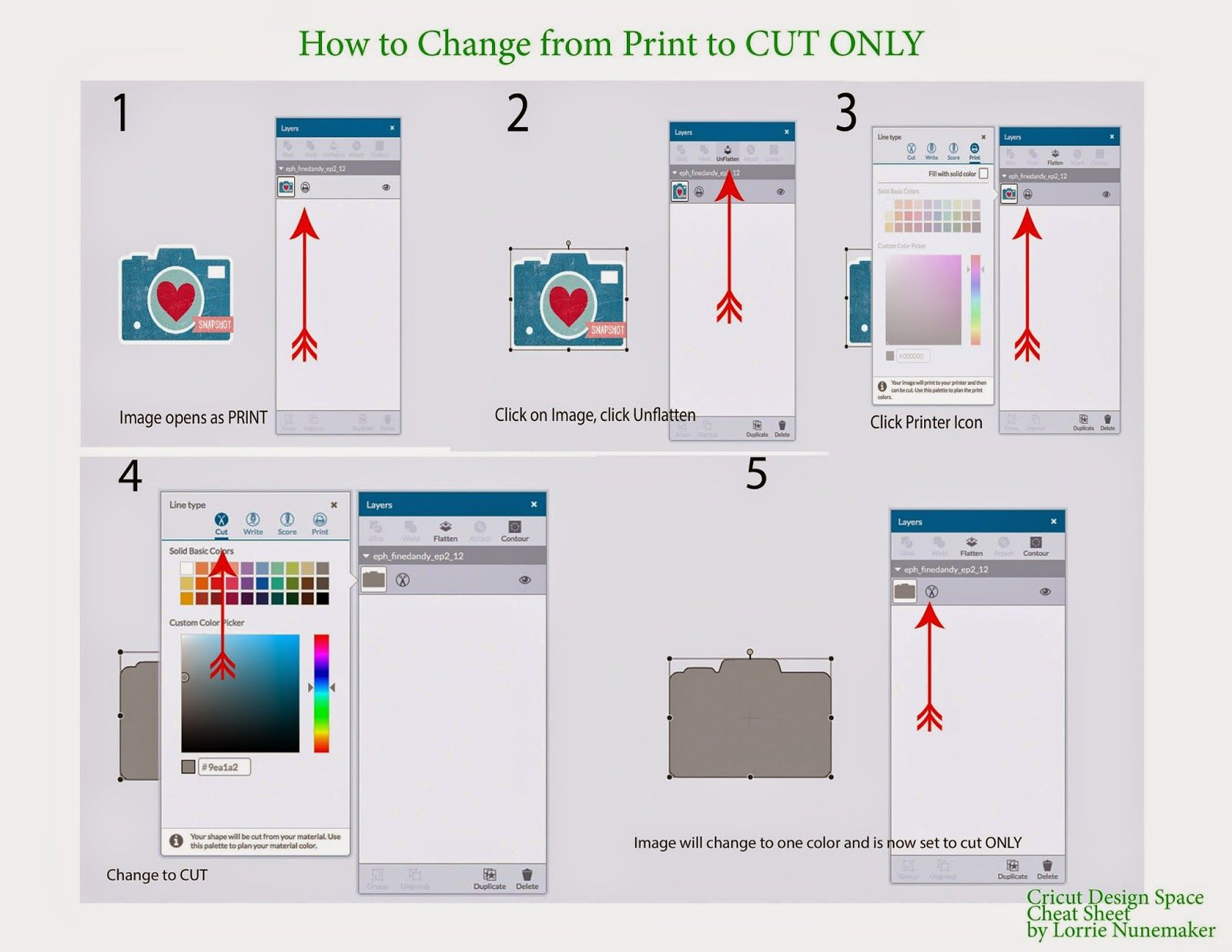 Lorrie's Story: Cricut Design Space Cheat Sheets For Quick Reference To  Frequently Asked Questions