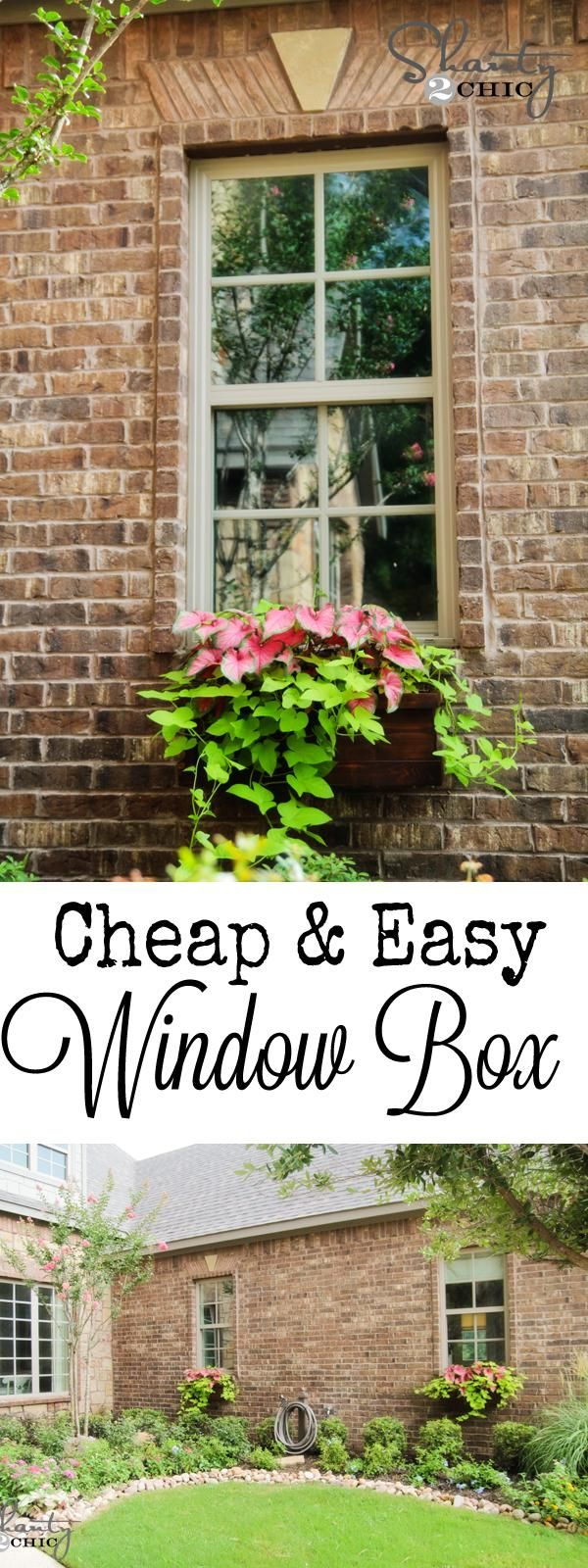 """Talk about window dressing--we love this """"cheap and easy"""" window box. Find out how to make it when you click through.    @Shanty-2-Chic.com"""