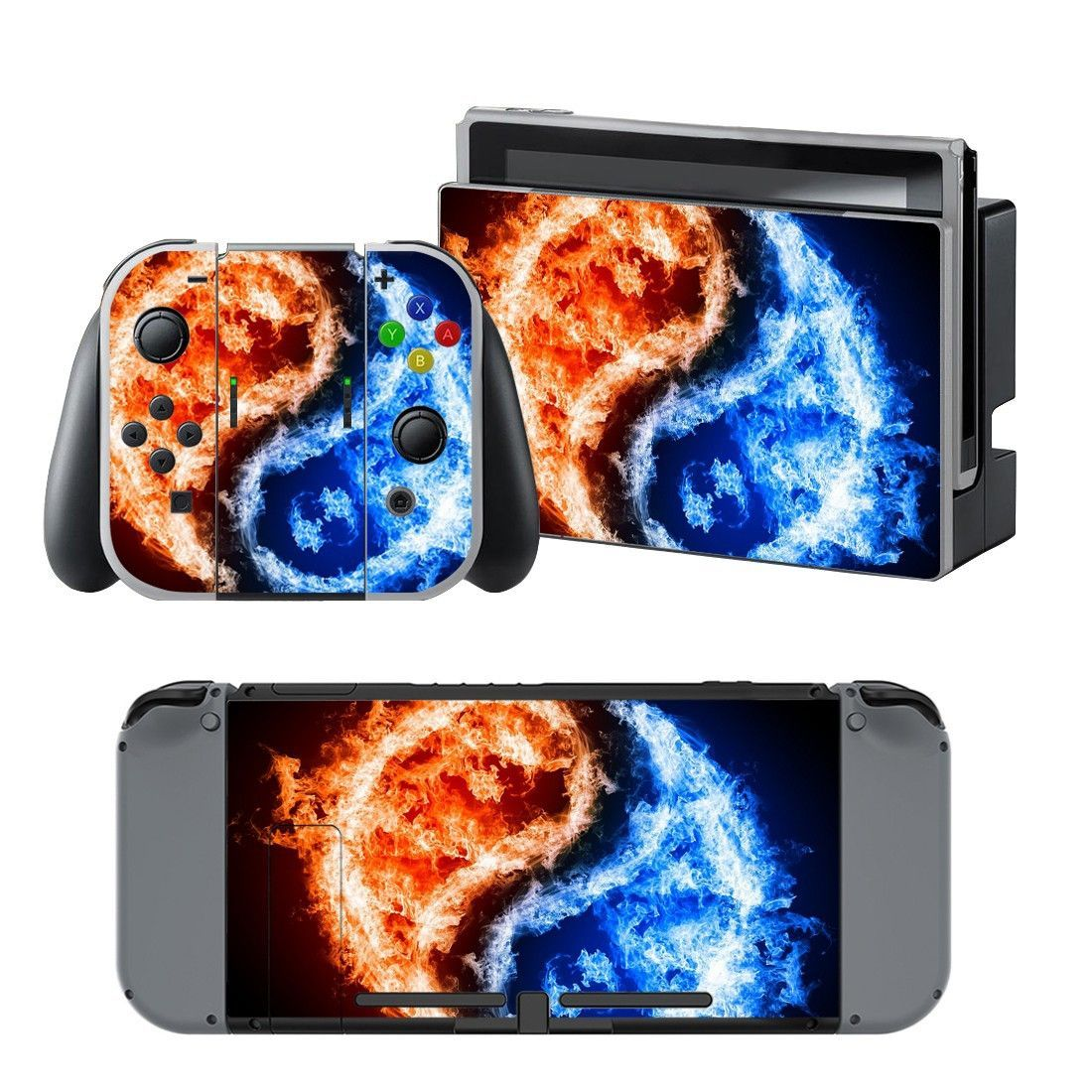 Cool Fire Design Vinyl Decal For Nintendo Switch Console