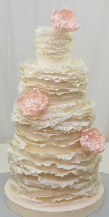 White Ruffles and Pink Peonies by The Cake Studio Cayman