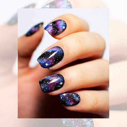 Galaxy Nail Polish Design: Galaxy Nails With Black, Blue And Purple Nail Polish