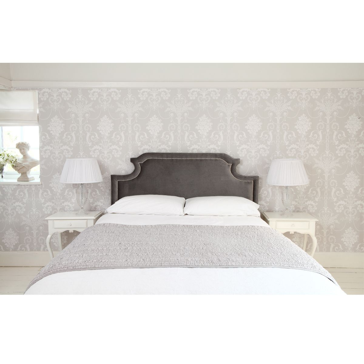 layla headboard in sumptuous grey for that sophisticated romantic  - layla headboard in sumptuous grey for that sophisticated romantic look