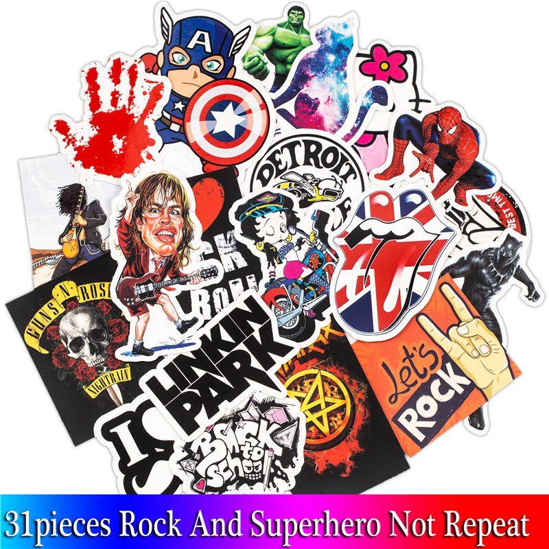 31pcs Mixed Rock Stickers Movie Graffiti Hero Sticker For Diy