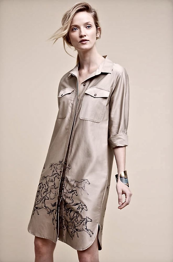 bc59615f77 NEW Anthropologie Maeve tan sand Horse Print Stampede Equine Shirtdress  Coat 2  Maeve  shirtdress  Casual