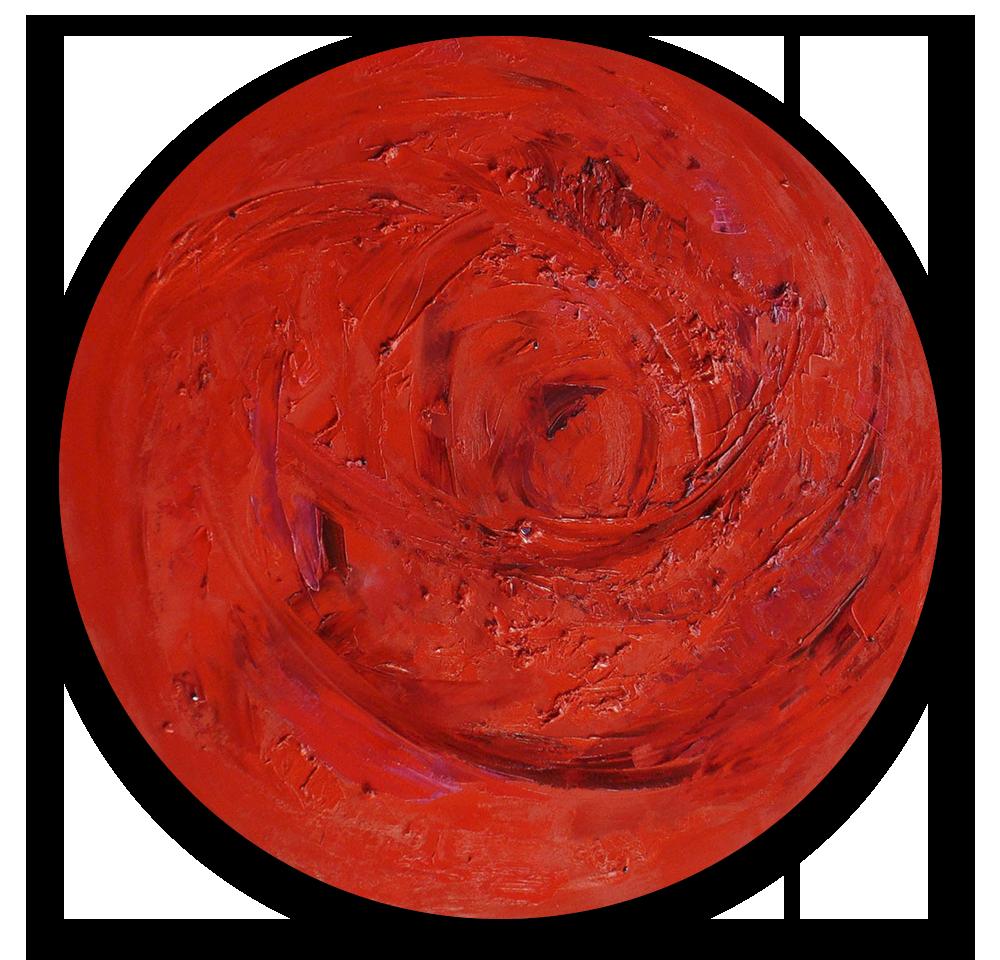 Base Chakra Round by Candace Wilson. Oil on panel with almandine garnet, sugalite. [ CandaceWilsonArtStudio.com ]